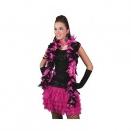 Boa plumas negra rosa